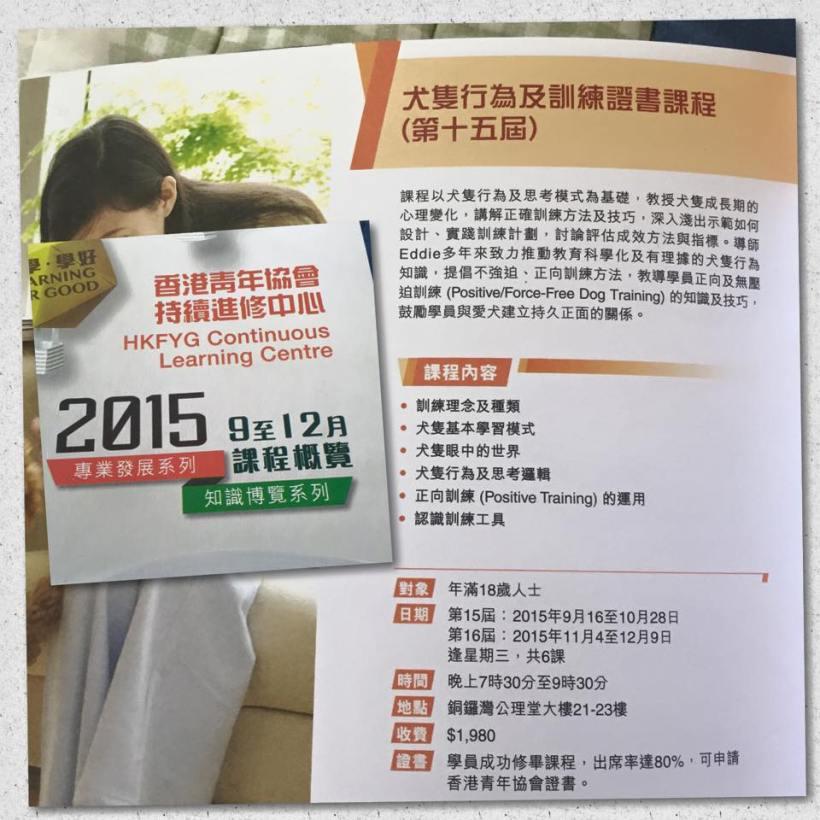 2015-09-16 犬隻行為及訓練證書課程(第十五、十六屇) - ⾹港青年協會持續進修中⼼
